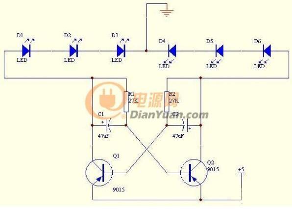 【图】一种简单的三极管变色闪光灯电路图设计振荡