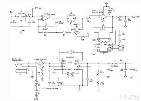 如下图所示,为一款便携式气体探测器的电路图。该便携式气体探测器电路主要是采用电化学传感器,双通道微功耗放大器ADA4505-2在恒电位配置(U2-A)和跨导配置(U2-B)下使用。该放大器的功耗和输入偏置电流非常低,对于恒电位部分和跨导部分都是很好的选择。每个放大器的功耗仅10 A,因此电池寿命非常长。