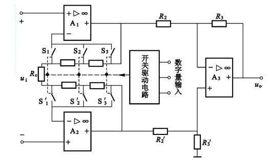 为集成程控测量放大器电路芯片LH0084的内部电路原理图.一方面通图片