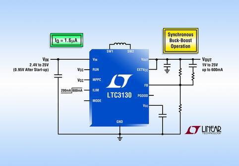 25V、600mA 同步降压-升压型 DC/DC 转换器仅消耗 1.6µA 静态电流