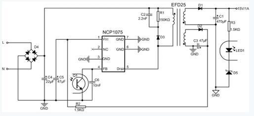 图2 NCP1075应用电路图 高效率准谐振(QR)和高功率因数单级PFC反激电源也得到了快速发展,可能很快成为AC-DC电源主流,代表IC如安森美(ON)推出的NCP1380和NCP1247。 在运算放大器、传感器、MCU和基准源等应用中,它们对电源的纹波噪声和电压精度要求比较高,那么Power 1还需要经过线性电源转换到Power 4线路中,才能给其系统供电。传统的线性电源一般采用NPN机构作为功率管,或者用达林顿结构功率管,如图3所示,LM7805和LM317等,都是这种结构。这类电源的特点是要求