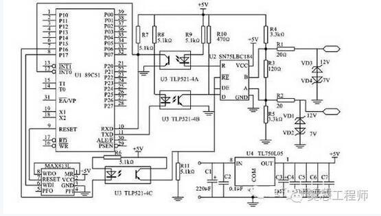 图1 RS485通信接口原理 2.1 电路基本原理 某节点的硬件电路设计如图1所示,在该电路中,使用了一种RS-485接口芯片SN75LBC184,它采用单一电源Vcc,电压在+3~+5.5 V范围内都能正常工作。与普通的RS-485芯片相比,它不但能抗雷电的冲击而且能承受高达8 kV的静电放电冲击,片内集成4个瞬时过压保护管,可承受高达400 V的瞬态脉冲电压。因此,它能显着提高防止雷电损坏器件的可靠性。对一些环境比较恶劣的现场,可直接与传输线相接而不需要任何外加保护元件。该芯片还有一个独特的设计,当