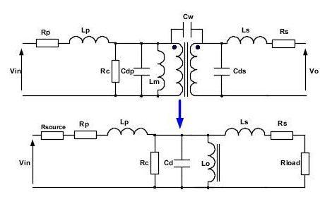 驱动变压器的微等效电路图