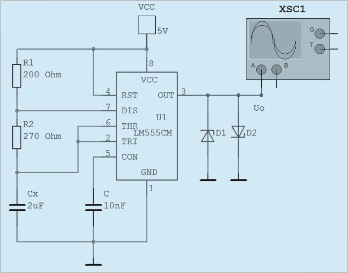 由上式可知,当电路设计完成后,振荡器输出f随CX的变化而改变。改变R1、R2的值即可改变系统量程。系统量程分为四档:(1)R1+2R2=470K时,测1.0nF-10.0nF的电容值。(2)R1+2R2=47K时,测10.0nF~100.0nF的电容(3)R1+2R2=4.7K时,测100.0nF~1000.0nF的电容。(4)R1+2R2=470时,测1.0F~10.0F的电容。图3为R1+2R2=470K时,测量电容为2F振荡输出输出波形。