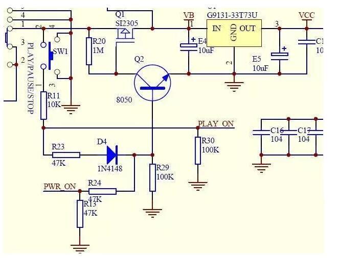 电路图中的电源开机电路中经常遇到的就是p沟道mos管