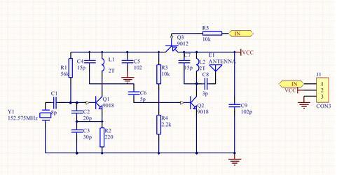 三点式电容振荡器实现射频遥控电路设计原理图