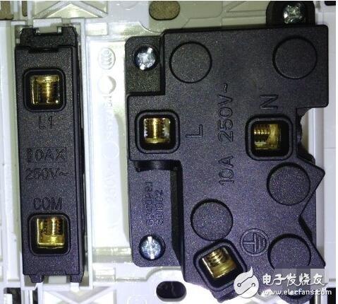 插座开关都是单独的,有二个接线桩.