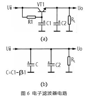压基本上没有电压降,所以直流输出电压比较高,这是 采用电感滤波器的