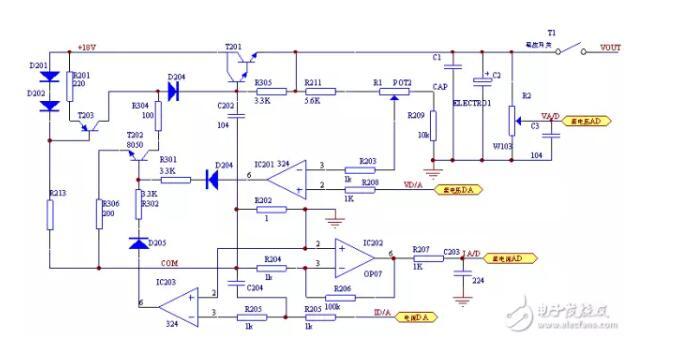 图2.2 D/A转换电路原理图   控制电路:控制电路主要由NEC upd78F0547单片机及外围电路、键盘电路等组成。单片机接收检测电路传输来的信号,经过A/D转换后将电压和电流值显示到液晶上。该电路能够通过按键设定电源的输出电压值和电流值,通过控制D/A芯片的设定值实现控制输出电压值和电流值。并根据检测实际输出的电流(压)值与设定值比较后,调整D /A芯片的设定值 ,使得电源的输出稳定、可靠。