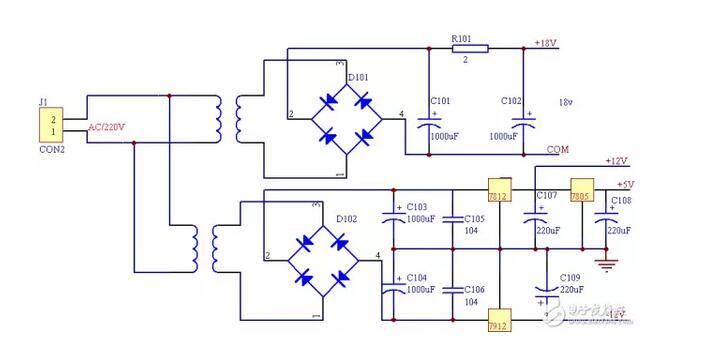图2.6 电源电路原理图   恒流输出时,在100mA(慢充)和200mA(快充)可设置的基础上,增加了电流值从100MA---200MA可调功能,步进为20 mA。可设置多种恒压输出状态,恒压输出值为:10V,9V,12V。以直流电源为核心,NEC upd78F0547单片机为主控制器,通过键盘来设置直流电源的输出电流,并可由液晶显示器显示输出的电压、电流值。由单片机程控设定数字信号,经过 D/A转换器输出模拟量,再经过运算放大器隔离放大,控制输出功率管的基极,随着功率管基极电压的变化而输出不同的