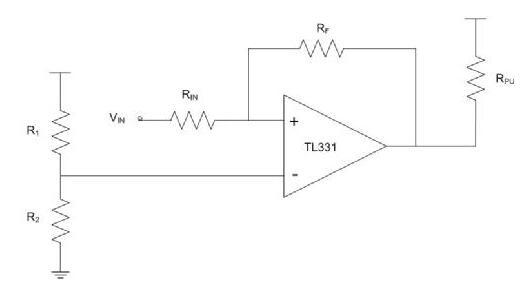 图2. 比较器配置为非反相施密特触发器