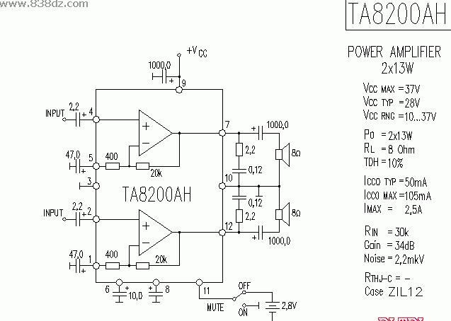 TA8200AH功放电路图纸原理图