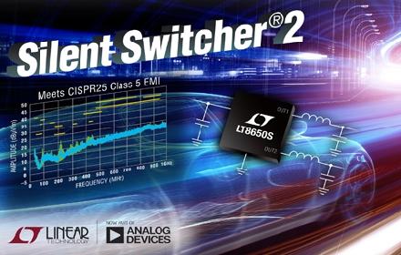 42V、双通道 4A (IOUT)、同步降压型 Silent Switcher 2在 2MHz 提供 94%效率并具超低 EMI 辐射