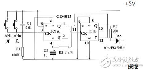 CD4013集成电路信号传送特性及应用电路