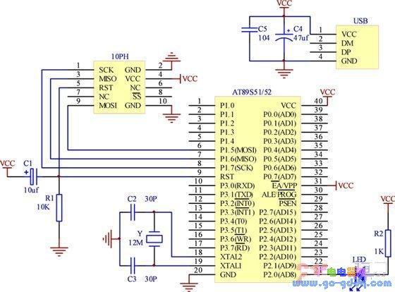 AT89S51/52单片机的最小系统电路原理图
