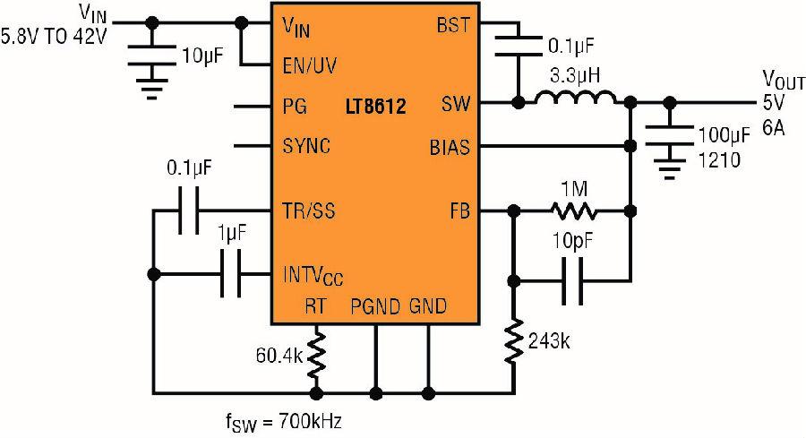 采用纤巧QFN 封装的42V 高功率密度降压型稳压器