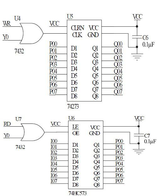 图2 MCU端口口扩展原理图   经典LCD1602 接口如图3 所示,这里7408、7402 逻辑门用来实现6800 时序(读写信号有独立接口的是8080 时序,这里只有使能信号E,需要外逻辑电路将读写信号相与合并使用)。