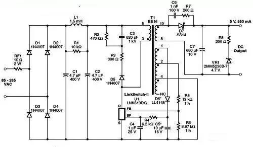 在电路中,二极管d1至 d4对ac输入进行整流,电容c1和c2对dc进行滤波