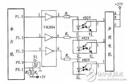 步进电机与单片机硬件接线图