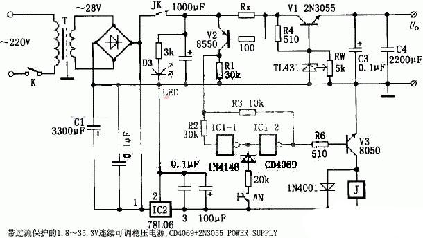 基于CD4069和2N3055的1.8~35.3V连续可调稳压电源设计