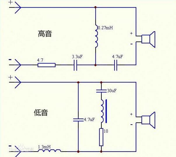 音箱分频器采用了下图结构,具体分析:   连接高音喇叭的电路:让