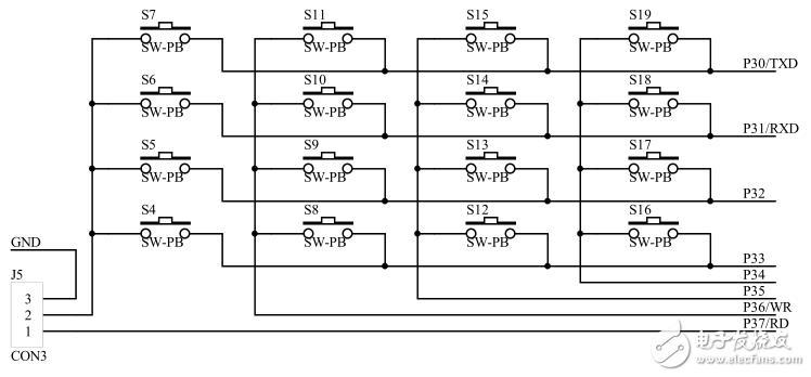 基于89C52单片机的独立按键原理图