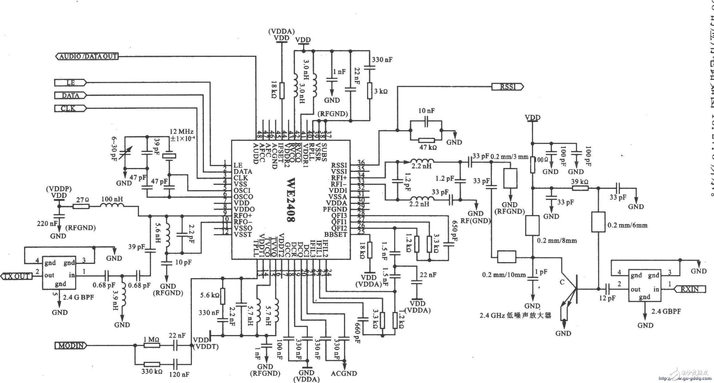 WE2408:可直接转换零一中频接收结构收发器