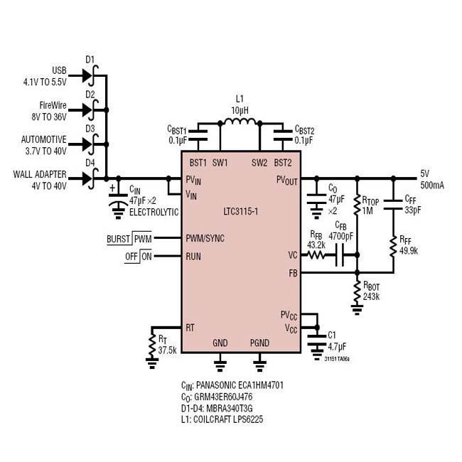 LTC3115-1转换器适合于众多的汽车及工业应用