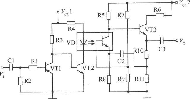 光电耦合器在音频放大电路中的典型应用电路图