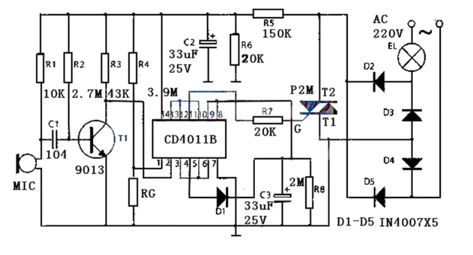 简单实用的用CD4011构成声光控开关灯电路