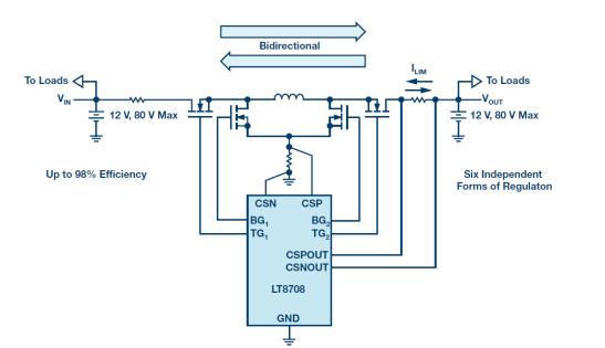 通过12 V至12 V双向DC/DC控制器实现汽车双电池冗余