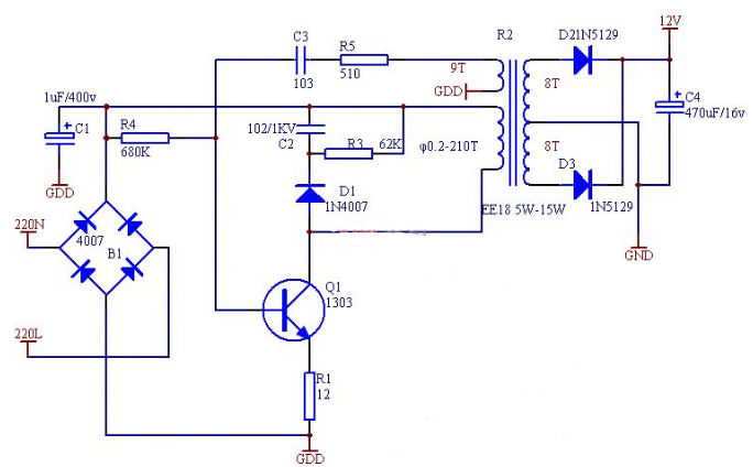 六款简单的开关电源电路设计,内附原理图详解