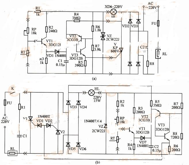两款无触点恒温器控制电路解析