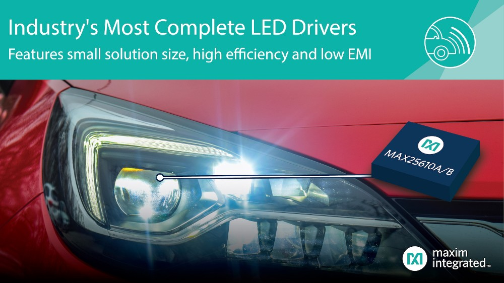 Maxim�l布�Y���o��的LED��悠�,�{借高效率、低EMI��I界提供最完�涞姆桨�