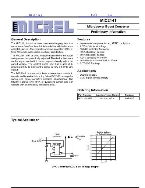 MIC2141数据手册封面