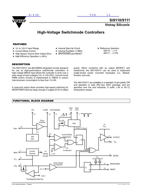 SI9110DY SI9110 High-Voltage Switchmode Controllers SOP14