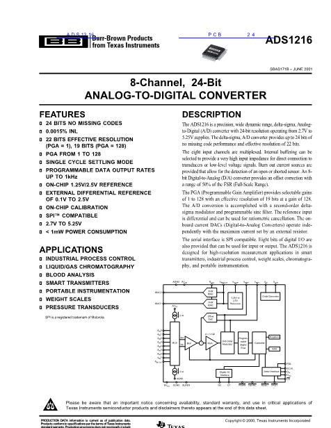 ADS1216数据手册封面