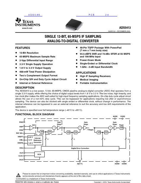ADS5413数据手册封面