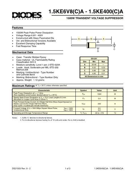 15KE47A数据手册封面