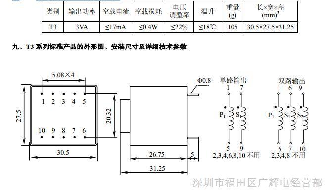 捷配电子市场网 元器件 变压器 整流/电源变压器     初级:220v±10%