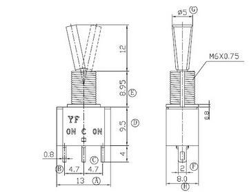 85℃     电器寿命:10000次以上      温控器开关 安装尺寸电路图