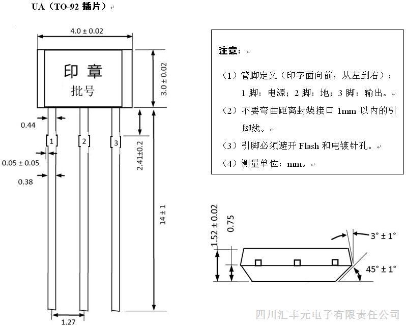 霍尔传感器A1104E典型应用于: 1、磁编码 2、速度和RPM(转速)传感器 3、电动机和风机控制 4、转速计, 计数测量传感器 霍尔元件A1104EUA-T使用注意事项: 1、安装时要尽量减小施加到电路外壳或引线上的机械应力。 2、焊接温度要低于260,时间小于3秒。 3、电路为OC输出,需要在1、3腿(电源与输出)之间加一上拉电阻(电阻值为0-10K之间)。上拉电阻的阻值与工作电压、通过电路的电流有关。 4、因为霍尔是敏感器件,请在仓储及生产过程中注意静电防护措施。 我们的优势: 质量稳定:专业的