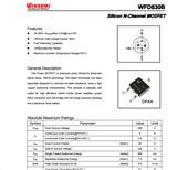 WFD830B(5N50) TO-252 TO-220 YE适配器、HID镇流器、节能灯、LED等