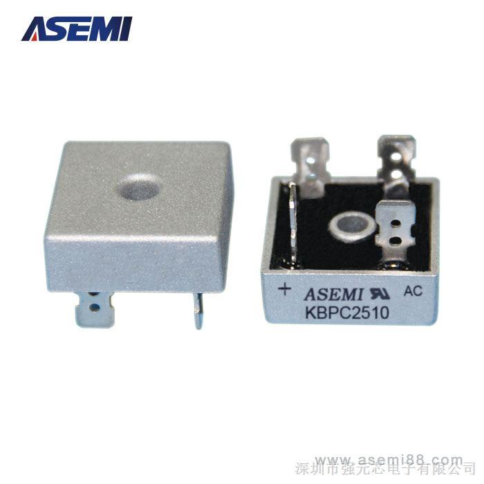 KBPC2510原装台湾ASEMI整流方桥 型号:KBPC2510 品牌:ASEMI 封装:KBPC-4 特性:单相整流方桥 电性参数:25A1000V 芯片材质:GPP 正向电流(Io):25A 芯片个数:4 正向电压(VF):1.05V 芯片尺寸:140 浪涌电流Ifsm:350A 是否进口:是 漏电流(Ir):500uA 工作温度:-55~+150 恢复时间(Trr):500ns 引线数量:4 编辑人:李绚 订购热线:400-9929-667 ASEMI品牌KBPC251