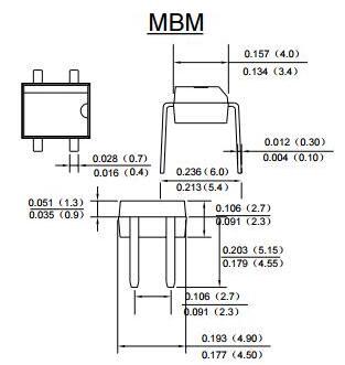rmb2m桥堆 介绍:     玻璃钝化芯片     低泄漏     理想的印刷电路