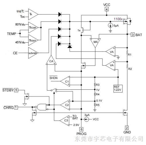 锂离子电池线性充电器 集成电路ic 锂电池充电芯片 me4055 sot23-6