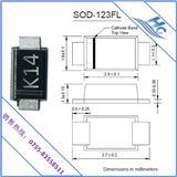 贴片小功率肖特基二极管专业制造商现货热销K14 SOD-123FL贴片二极管 开关电源充电宝常用半导体零部件