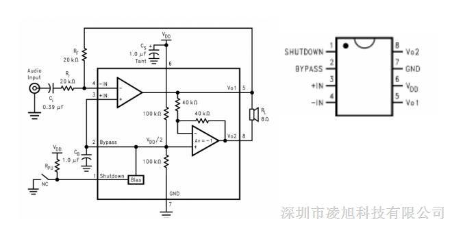 是一个 BTL 桥连接的音频功率放大器.它能够在 5V 电源电压下给一个 3Ω 负载提供 THD 小 于 10%、平均值为 3W 输出功率。在关闭模式下电流的典型值为 0.6uA. CSC8002 是为提供大功率,高保真音频输出而专门设计的.它仅仅需要少量的外围元件,并且能工作在 低电压条件下(2.0V-5.