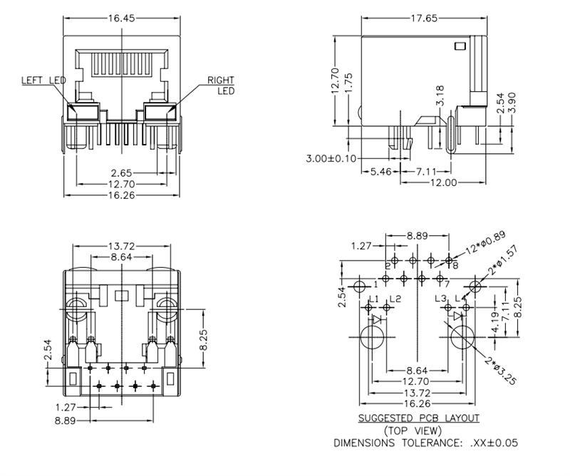 供应带LED 90度直插网络母座 网络连接器