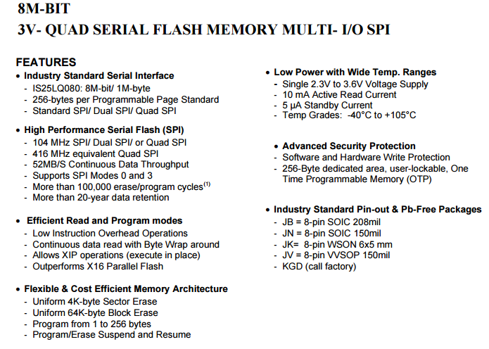 IS25LQ080-JKLE NOR闪存存储器IC_Flash Memory(闪存/快闪存储器)_维库